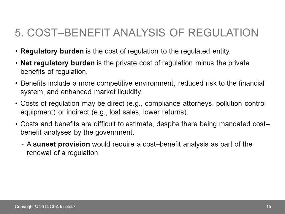 5. Cost–benefit analysis of regulation