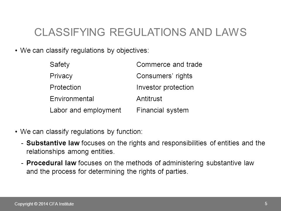 Classifying regulations and laws