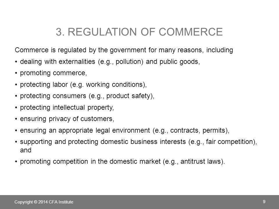 3. Regulation of commerce