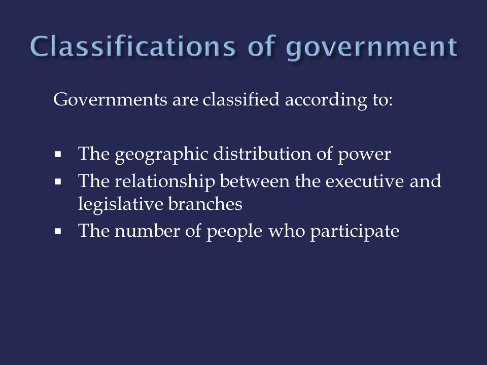 Classifications of government
