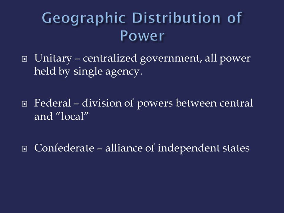 Geographic Distribution of Power