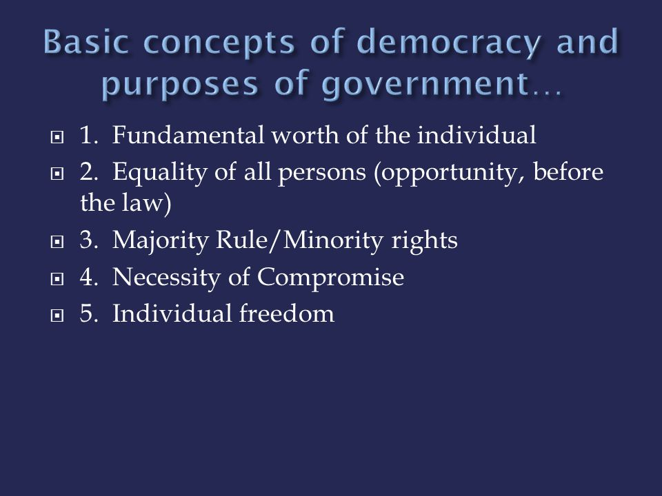 Basic concepts of democracy and purposes of government…