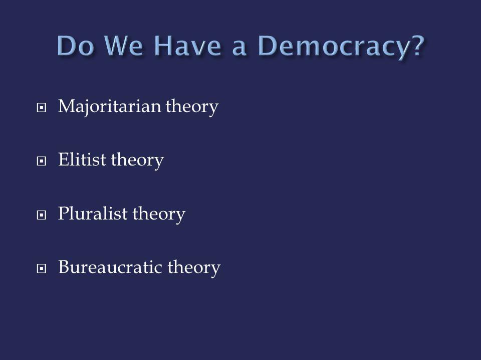 Do We Have a Democracy Majoritarian theory Elitist theory