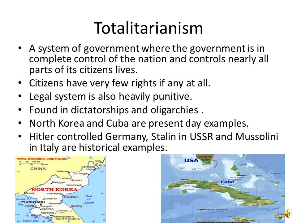 Totalitarianism A system of government where the government is in complete control of the nation and controls nearly all parts of its citizens lives.