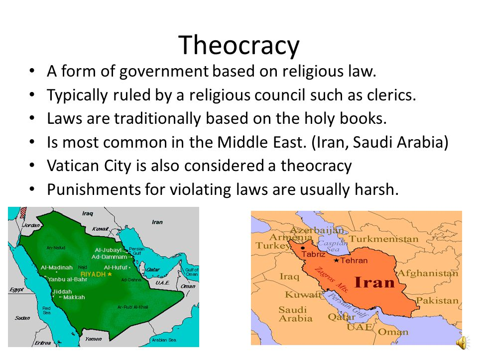 Theocracy A form of government based on religious law.
