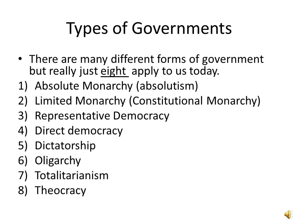 different forms of government Many different forms of government have existed throughout civilization theocracy, dictatorships, democracy, and many others have all had periods of time.
