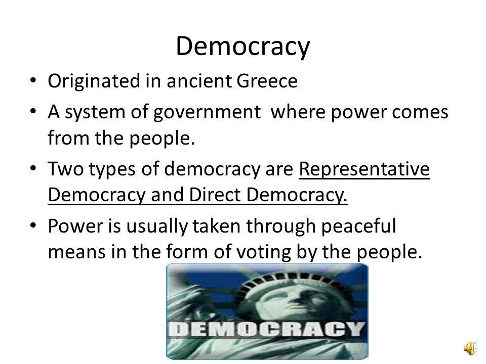 Democracy Originated in ancient Greece