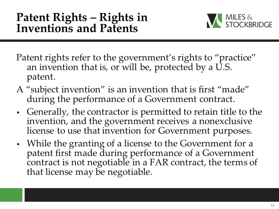 Patent Rights – Rights in Inventions and Patents
