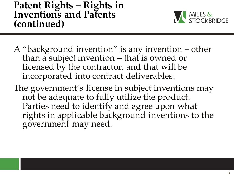 Patent Rights – Rights in Inventions and Patents (continued)