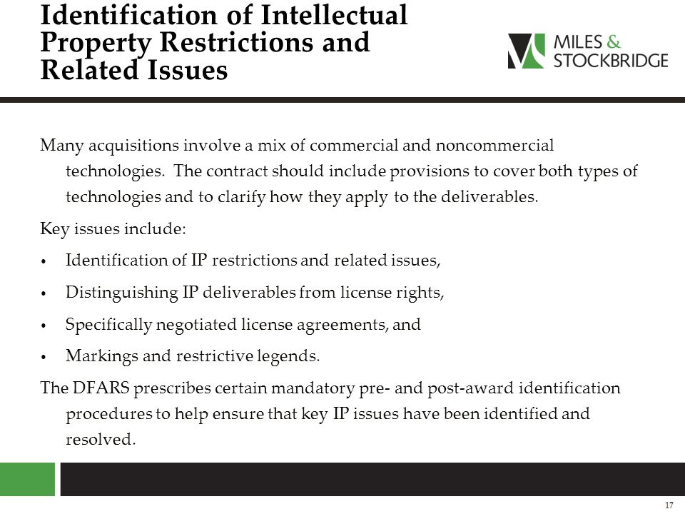 Identification of Intellectual Property Restrictions and Related Issues