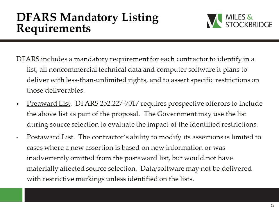 DFARS Mandatory Listing Requirements