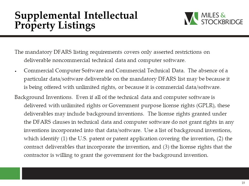Supplemental Intellectual Property Listings