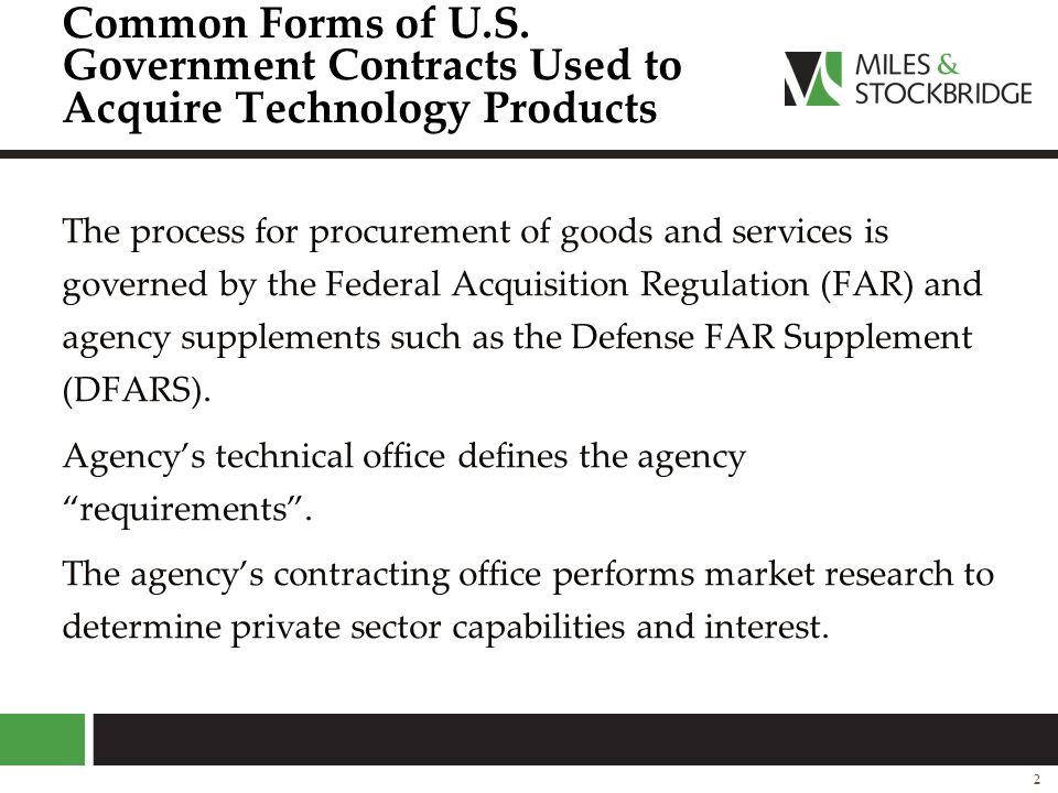 Common Forms of U.S. Government Contracts Used to Acquire Technology Products