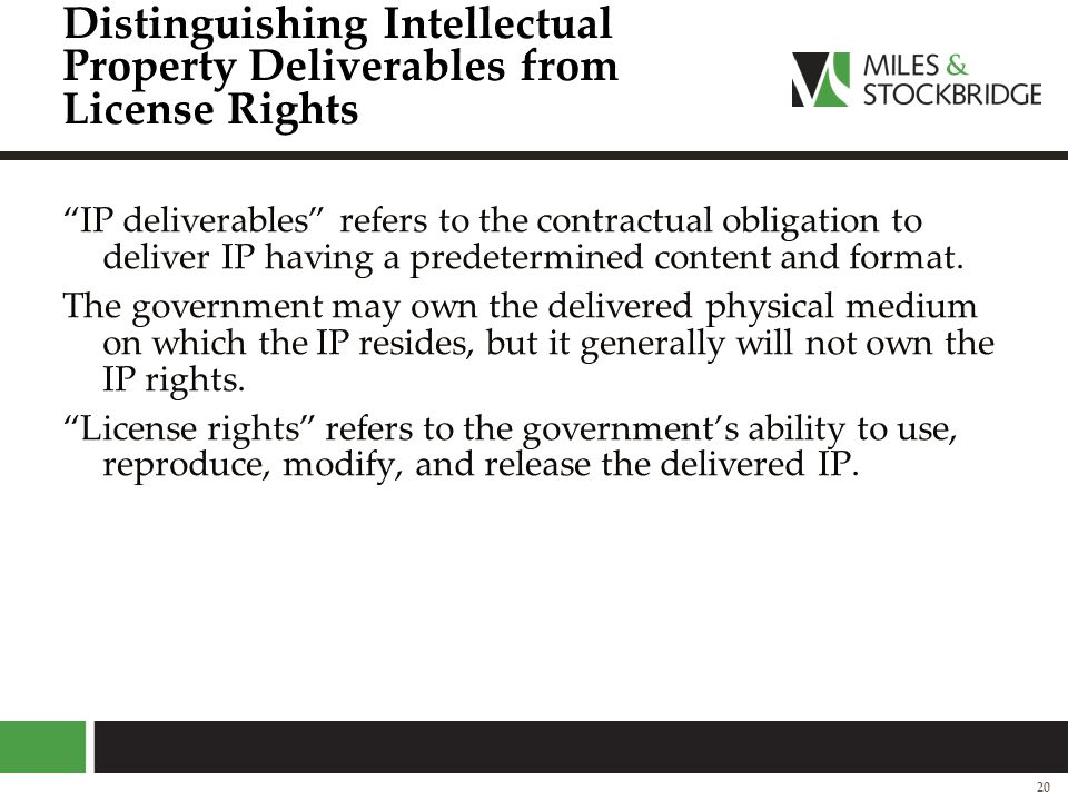Distinguishing Intellectual Property Deliverables from License Rights