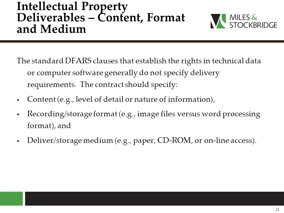 Intellectual Property Deliverables – Content, Format and Medium