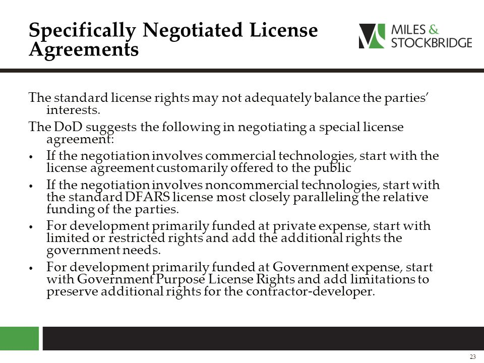 Specifically Negotiated License Agreements