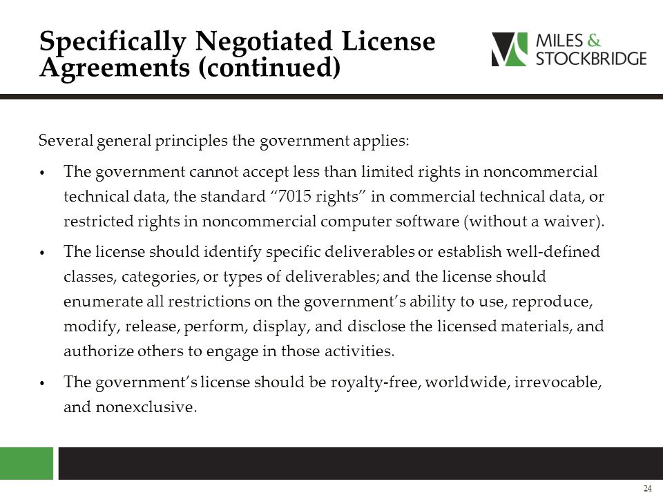Specifically Negotiated License Agreements (continued)