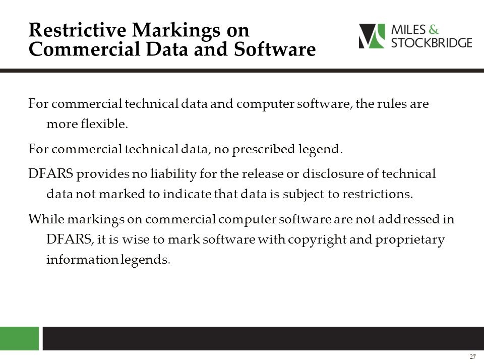 Restrictive Markings on Commercial Data and Software