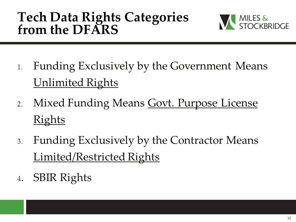 Tech Data Rights Categories from the DFARS