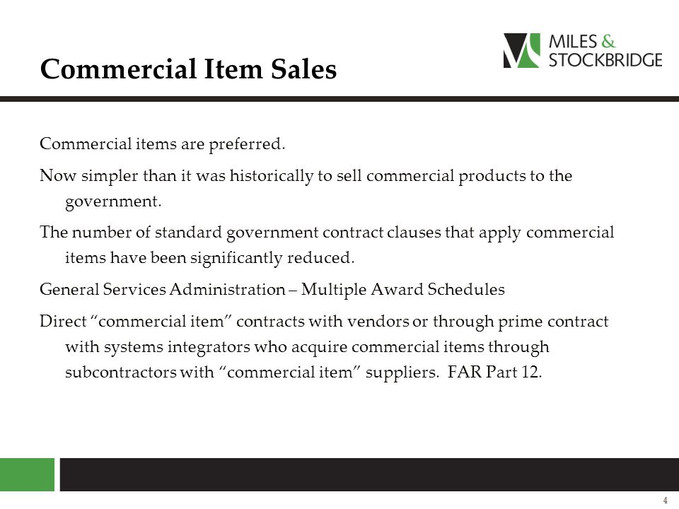 Commercial Item Sales