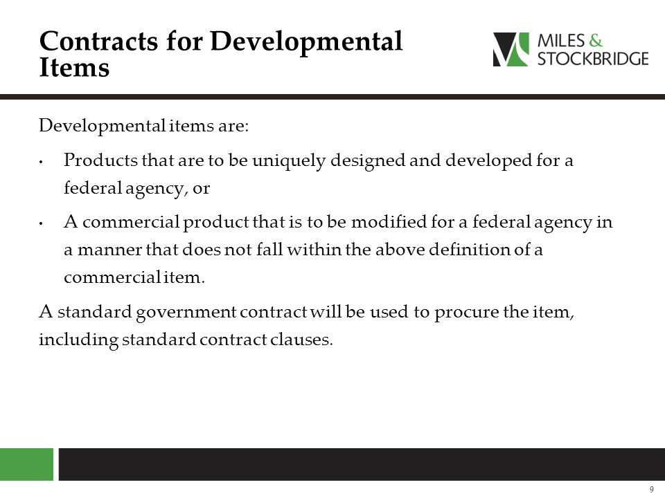 Contracts for Developmental Items