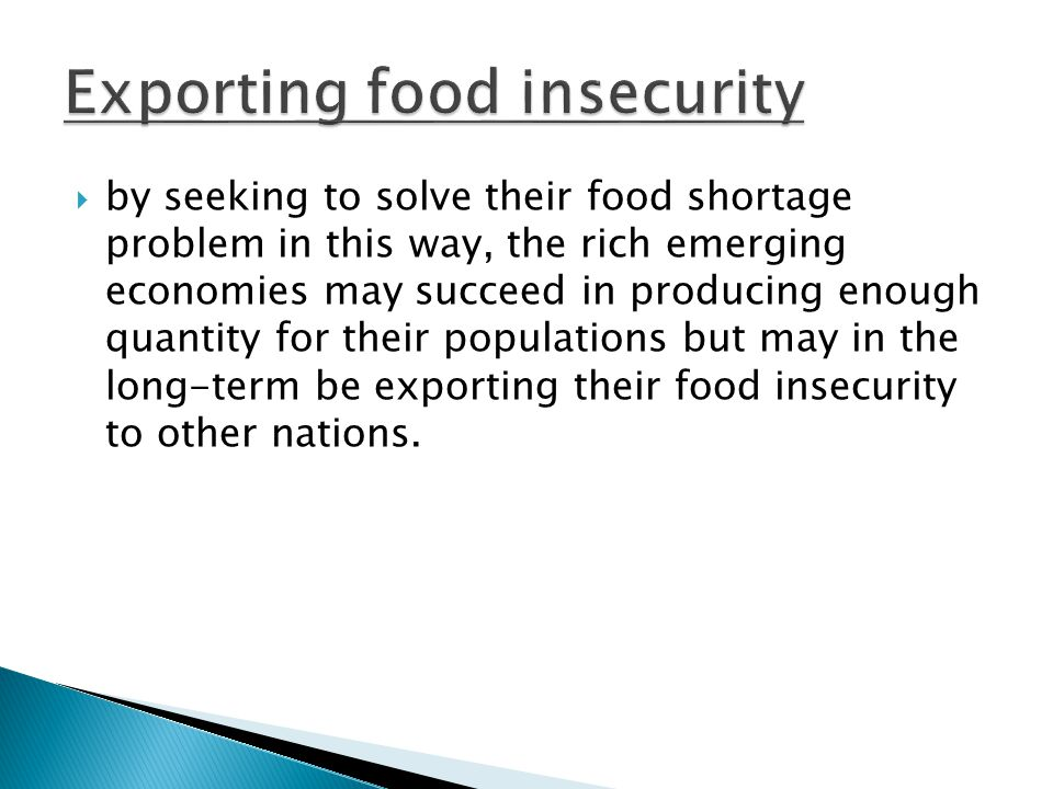 Exporting food insecurity
