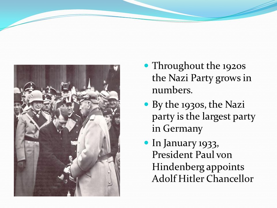 Throughout the 1920s the Nazi Party grows in numbers.