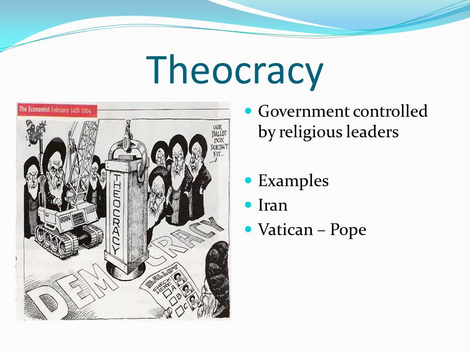 Theocracy Government controlled by religious leaders Examples Iran