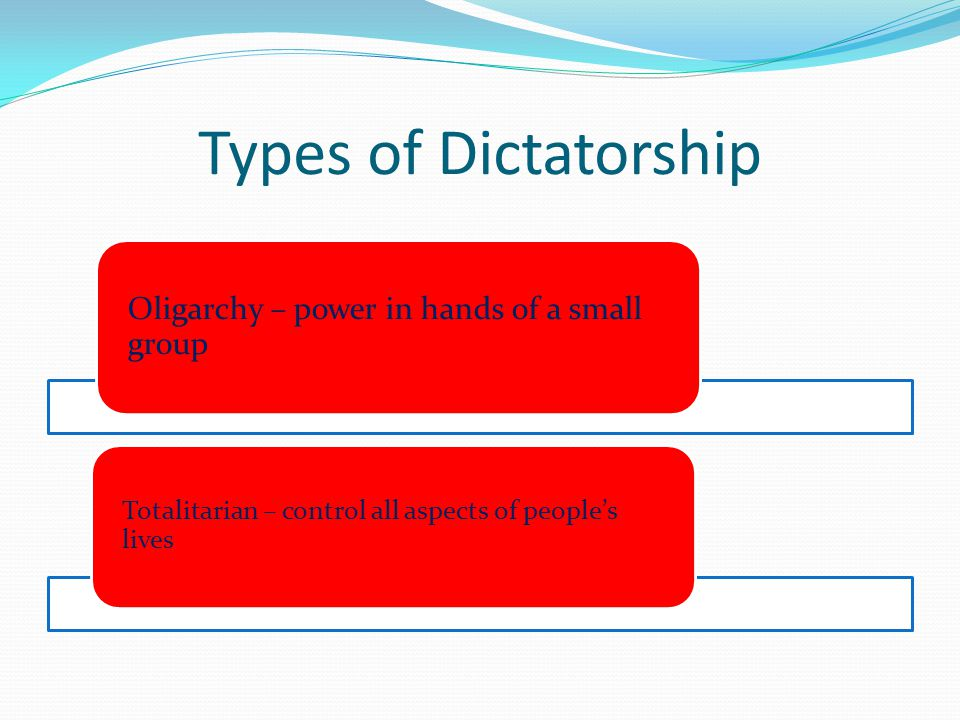Types of Dictatorship Oligarchy – power in hands of a small group