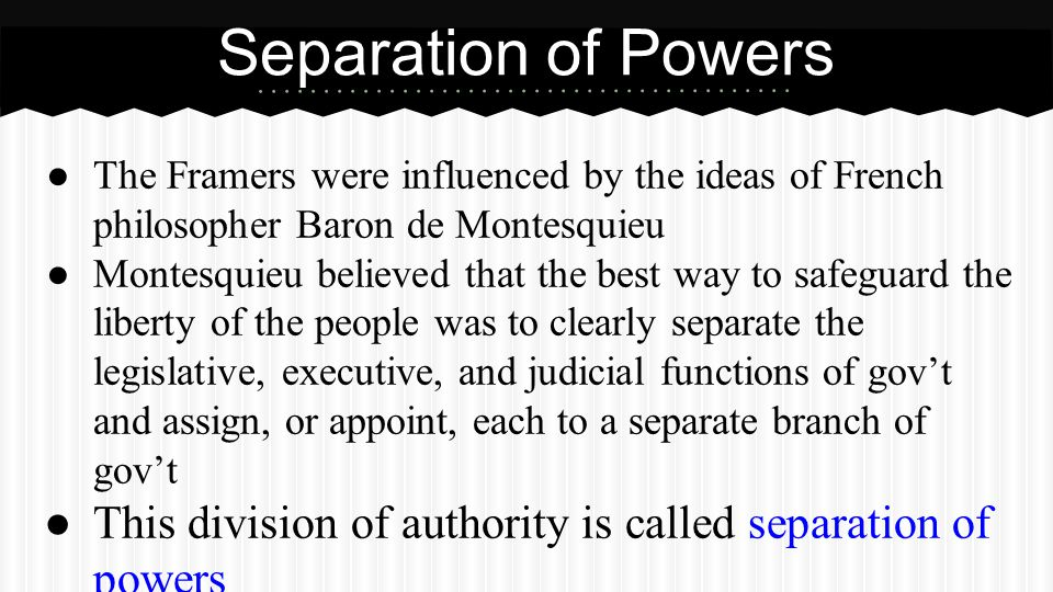 Partner Questions What is the separation of powers