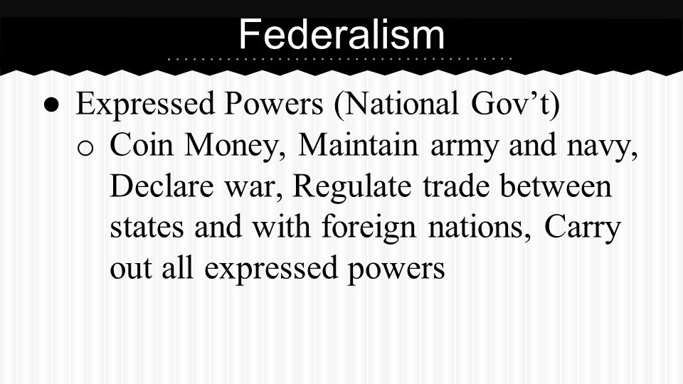 Federalism Reserved Powers (State Gov'ts)