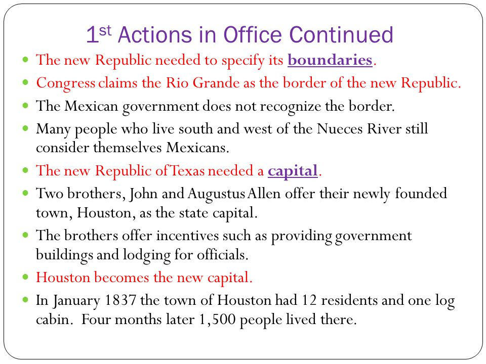 1st Actions in Office Continued