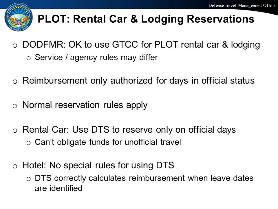 PLOT: Rental Car & Lodging Reservations