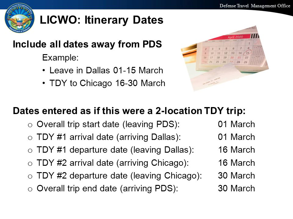 LICWO: Itinerary Dates