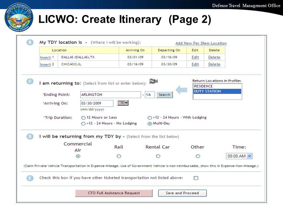LICWO: Create Itinerary (Page 2)