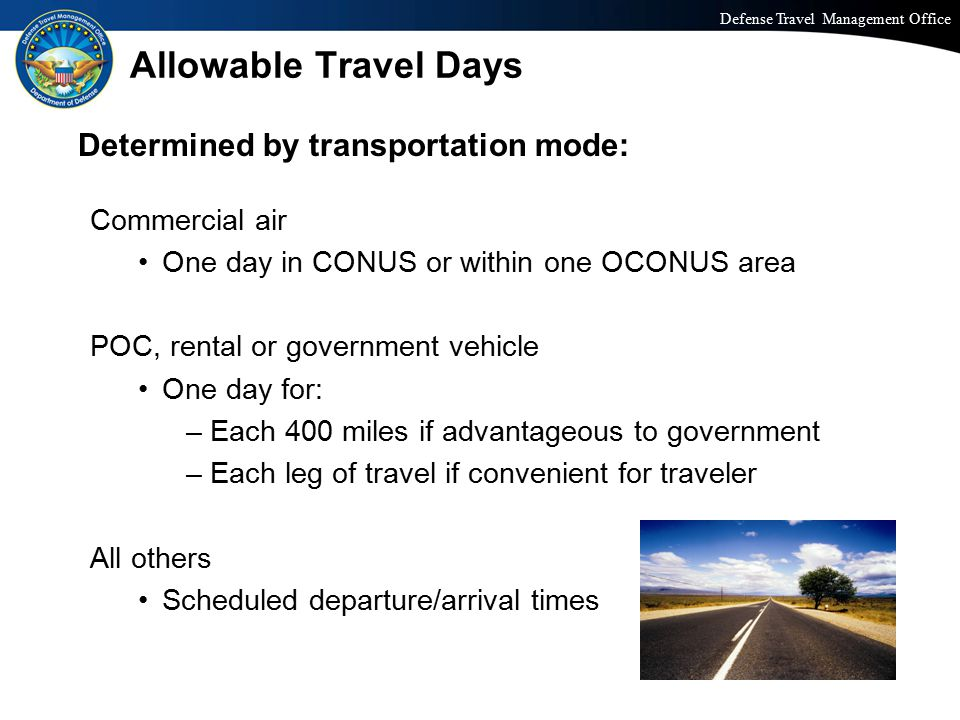 Allowable Travel Days Determined by transportation mode: