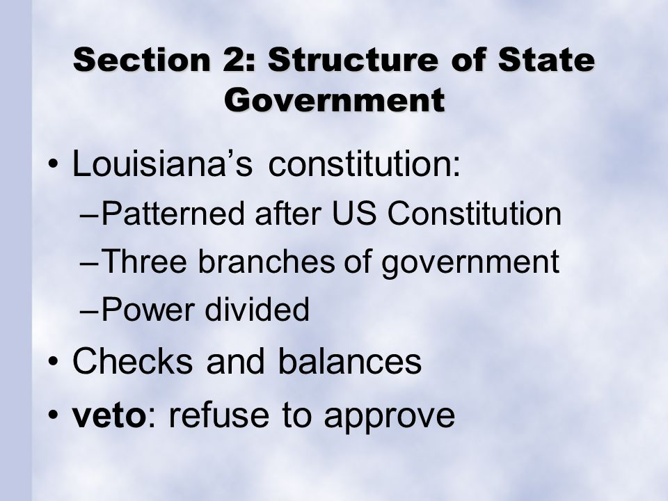 Executive Branch Implements the laws Operates state government