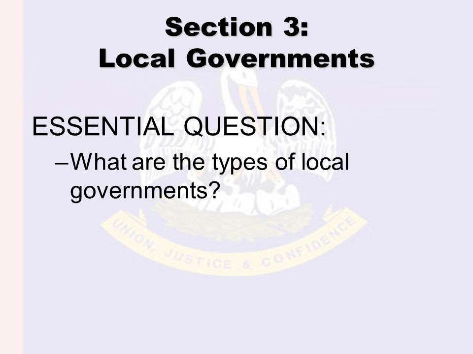 Section 3: Local Governments