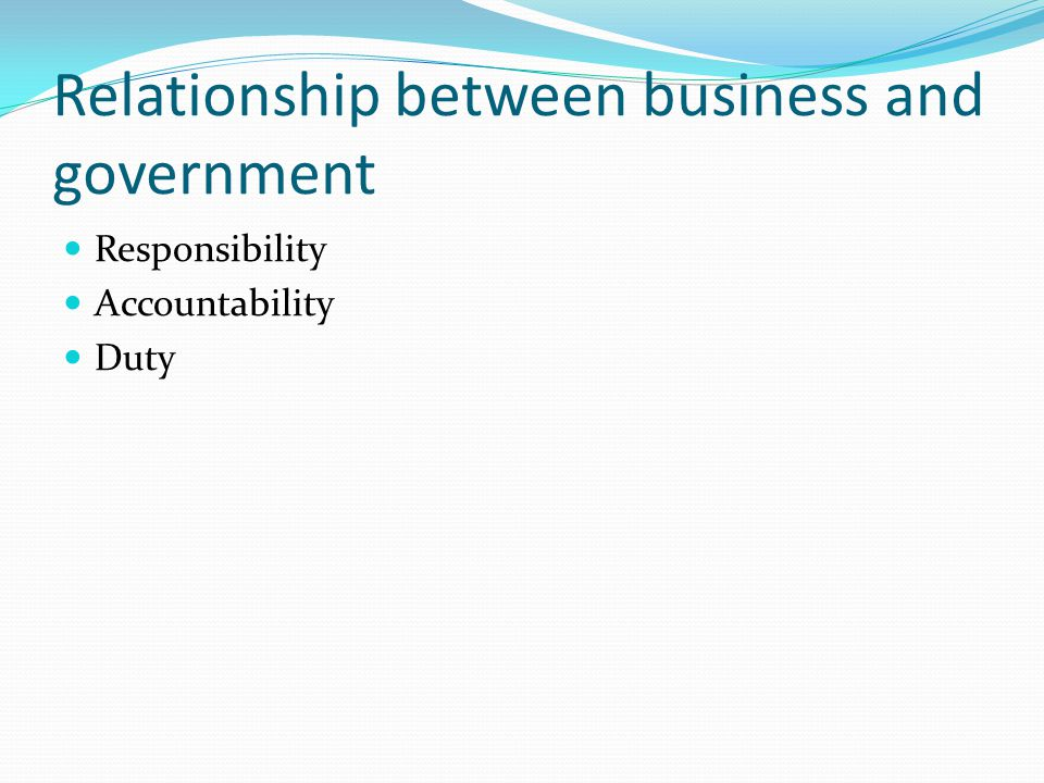 Relationship between business and government