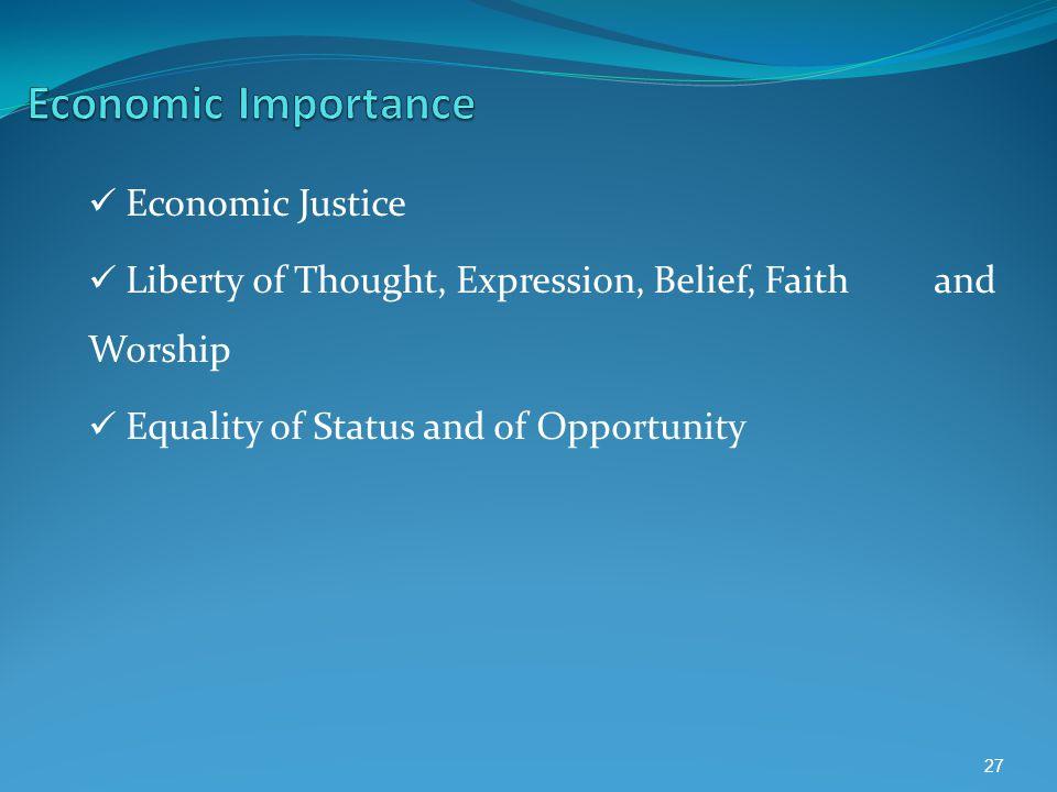 Economic Importance Economic Justice