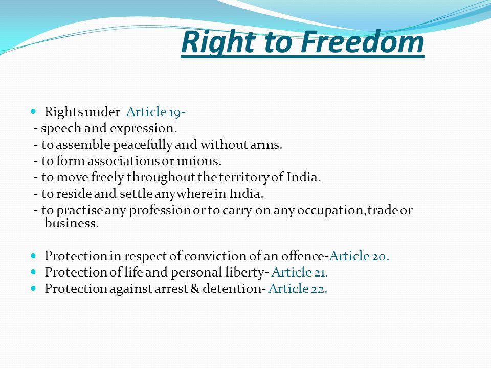 Right to Freedom Rights under Article 19- - speech and expression.