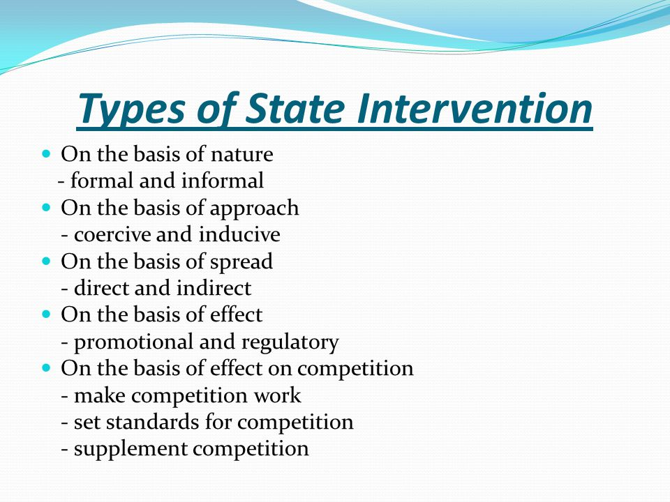 Types of State Intervention