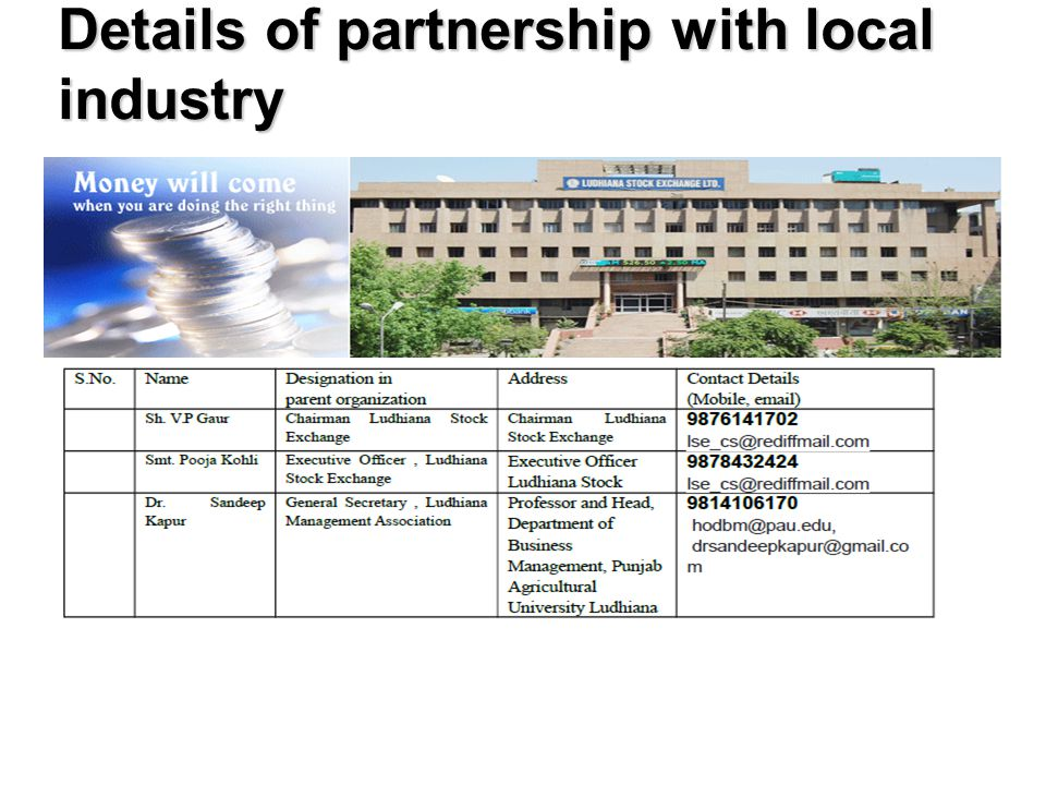 Details of partnership with local industry
