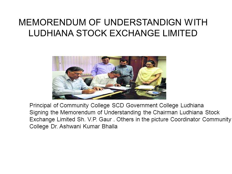 MEMORENDUM OF UNDERSTANDIGN WITH LUDHIANA STOCK EXCHANGE LIMITED