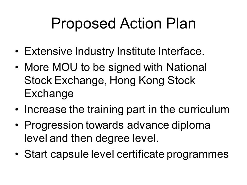 Proposed Action Plan Extensive Industry Institute Interface.