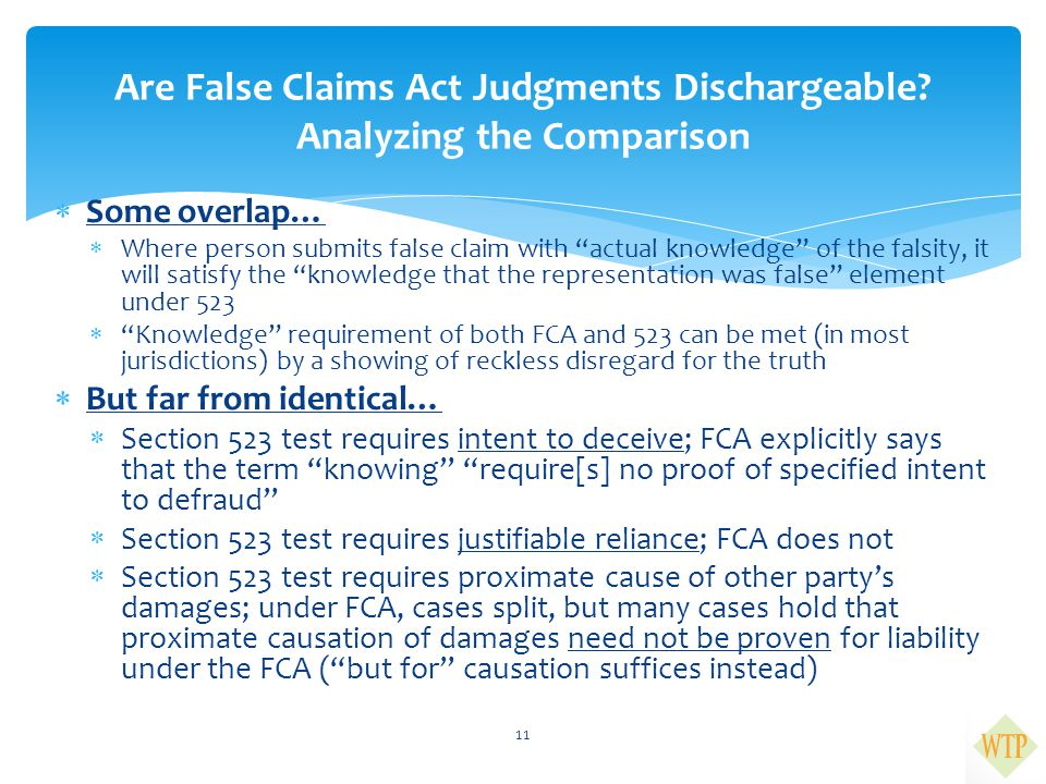Are False Claims Act Judgments Dischargeable Analyzing the Comparison