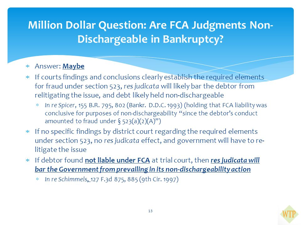 Million Dollar Question: Are FCA Judgments Non-Dischargeable in Bankruptcy