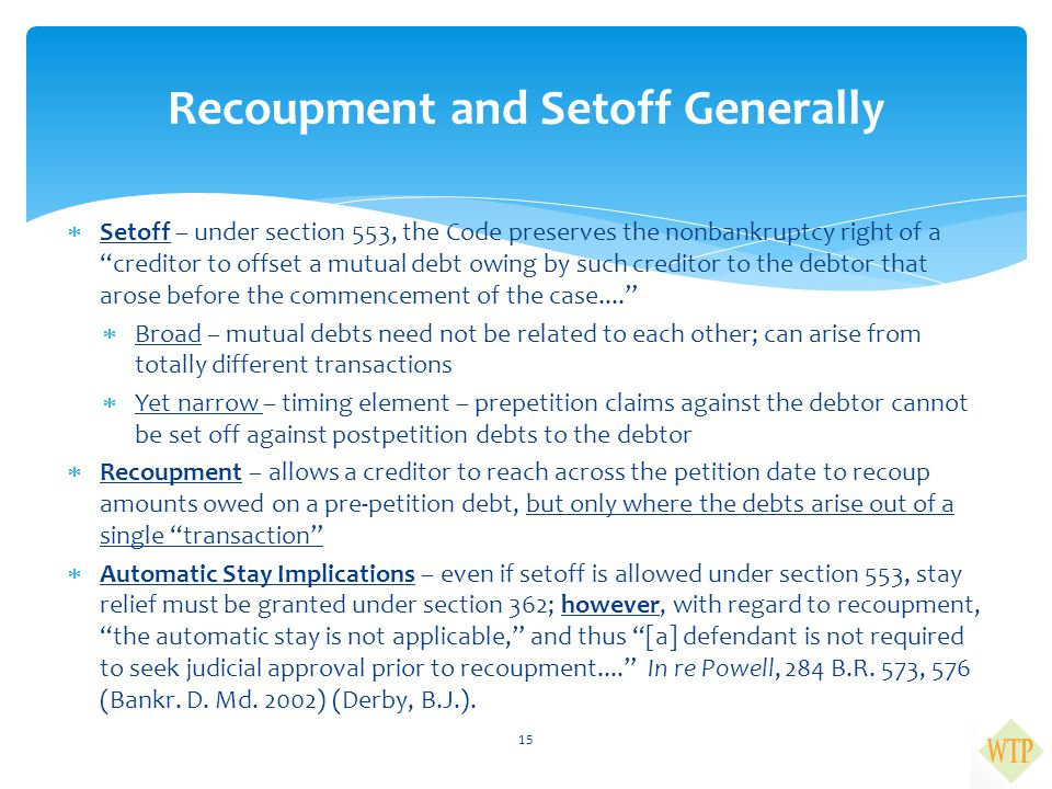 Recoupment and Setoff Generally
