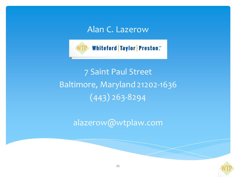 Alan C. Lazerow 7 Saint Paul Street Baltimore, Maryland 21202-1636