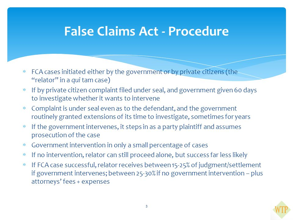 False Claims Act - Procedure